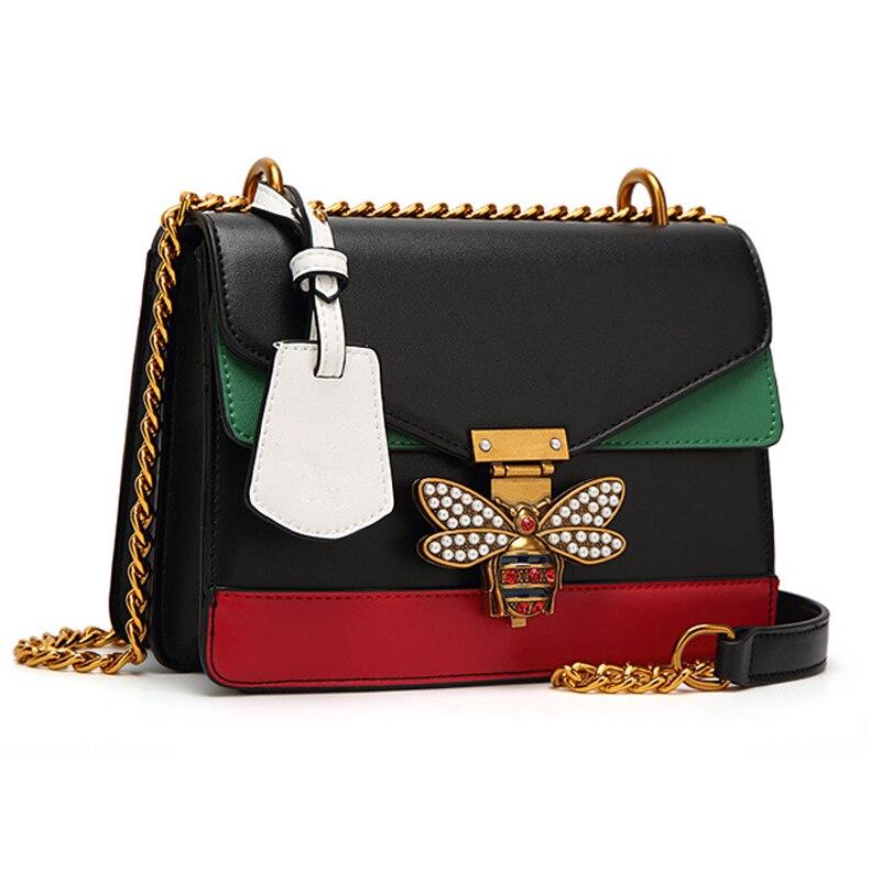 Women Color splicing Little Bee Bags Fashion Luxury Designer Handbag Casual Vintage Shoulder Crossbody Bags Bolsa