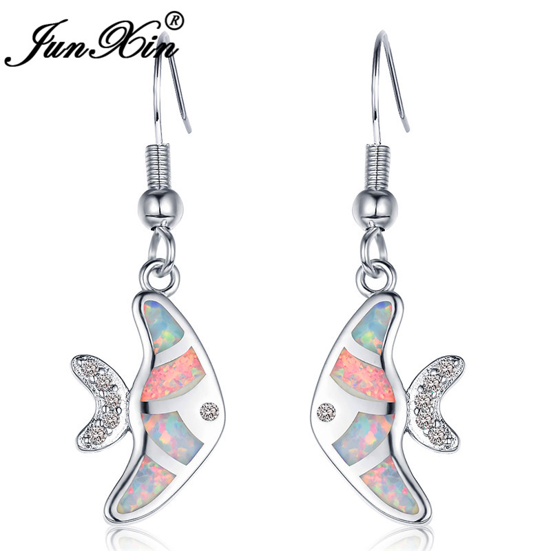 JUNXIN Cute Goldfish Drop Earrings For Women White Gold Filled Black Gold Filled Blue White Fire Opal Earrings Female Jewelry