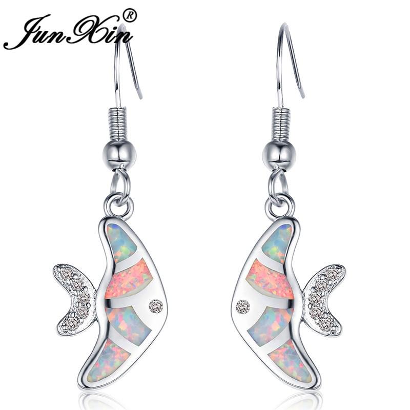 JUNXIN Cute Goldfish Drop Earrings For Women White Gold Filled Black Gold Filled Blue White Fire Opal Earrings Female Jewelry
