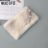 WUCIFO real fur mink scarf warm winter scarves knitted women fashion neck street fashion luxury mink fur scarf