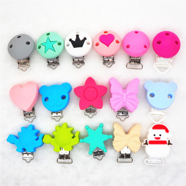 Chenkai 10PCS Round Bear Star Silicone Baby Pacifier Dummy Teether Chain Holder Soother Nursing Toy Accessories Clips