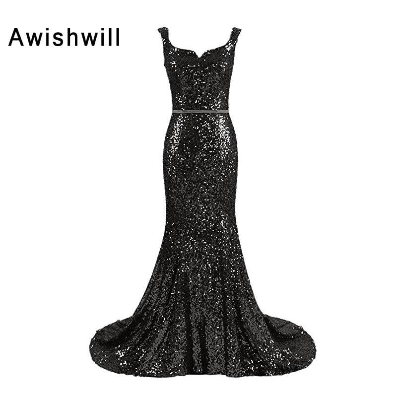 Vraies photos scintillantes longues Sequin robes de bal pour les femmes balayage Train pas cher longue robe formelle robes de soirée robes de Gala