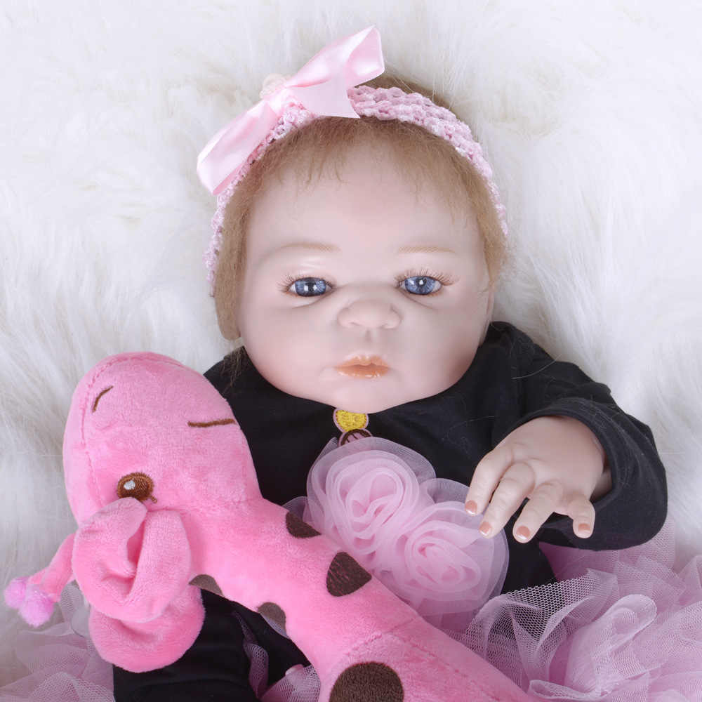 Juguete educativo de 22 pulgadas estilo y Material de vinilo realista Mohair completo silicona vinilo muñeca bebé renacido boneca cumpleaños regalo de Navidad