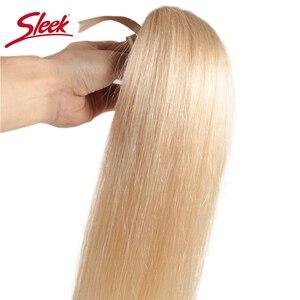 Image 3 - Sleek Remy Braziliaanse Hair Weave Bundels 10 26 Inch Straight Menselijk Haar Extension Honey Blonde # P27/16 /613 Haar Weave Bundels