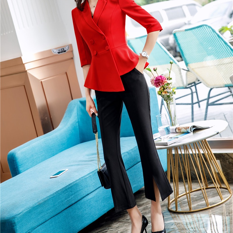 2019 Spring and Summer Elegant Black Women's Flare Trousers Korean Styles Temperament OL Slim Leisure   Pants     Capris
