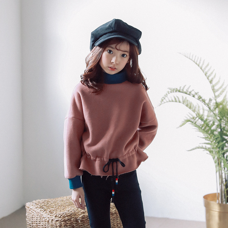 warm little girls clothes winter 2018 teens t-shirts for girls thick plus velvet big girls t-shirt with long sleeves autumn blue lace up design chimney collar cold shoulder long sleeves t shirts