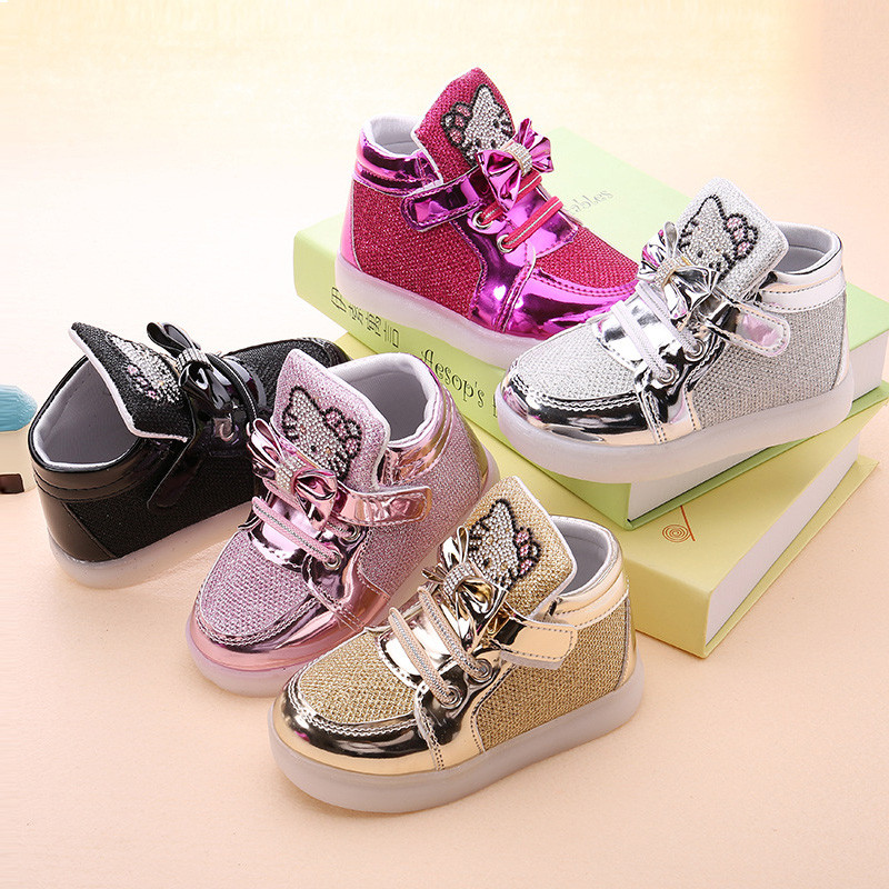 Girls shoes baby Hook Loop led shoes kids light up glowing sneakers toddler Girls princess children shoes girls with light 5