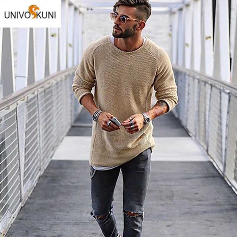 UNIVOS KUNI 2019 Men's Casula Sweater Fashion Slim Fit Brand Autumn Long Sleeved Soft Soild Color Wild Male Big Size 2XL Q6084