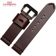 Laopijiangleather часы группа грубый ручной кожаный ремешок адаптер PAM111 мужчины часы 24 мм
