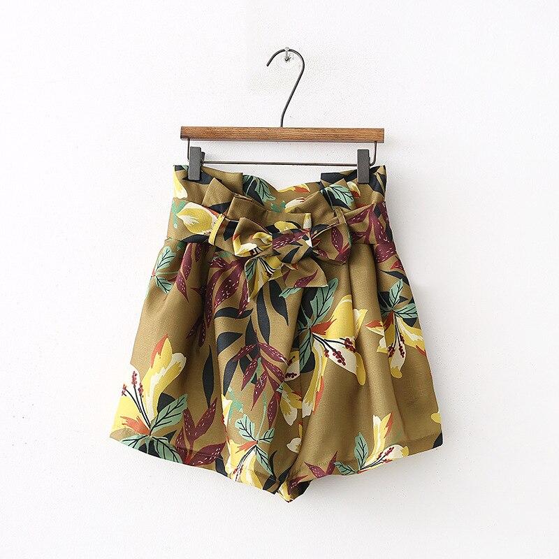OMONSIM summer new fashion flower printed linen Bermuda casual shorts vestidos mujer 0390
