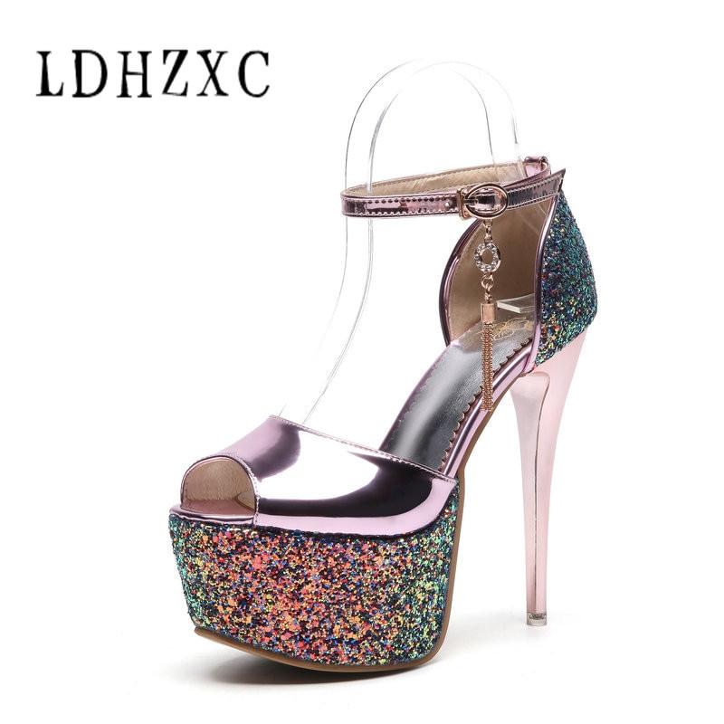 b20a502468 Ldhzxc Partido Sapatos Alto Senhora Sandálias Tamanho Moda Casamento  OuroDourado Mulheres Fino 3443 Plataforma Da Salto ...