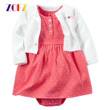 ZOFZ New baby Girl Dress Regular O-Neck 2pcs Dresses for Girls Cotton Floral Dresses with Long Sleeve Cardigan Baby Girl Clothes