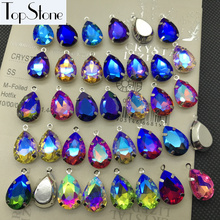 All Colors AB Drop Glass Crystal Fancy Stones 10x14,13x18mm Teardrop With One Loop Silver Claw Settings Charms Pendants(China)