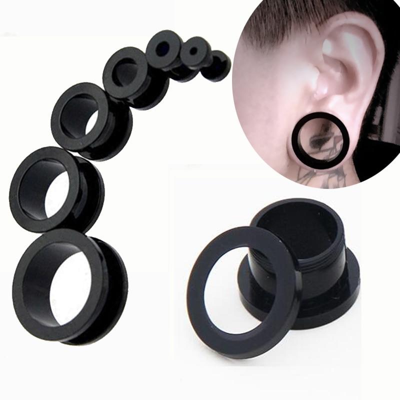 Earring Gauges Expanders Screw-Ear-Plugs Flesh-Tunnel Piercings Acrylic Plastic Black