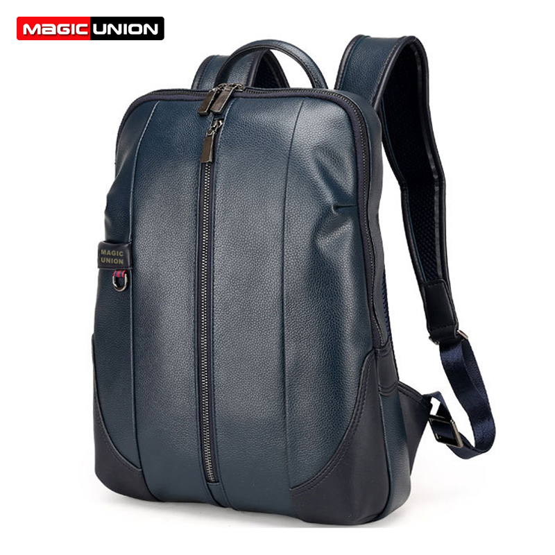 Magic Union Brand Design Fashion Bag For Men Business Men's Patent Leather Backpacks Men Laptop Backpack Waterproof Bags