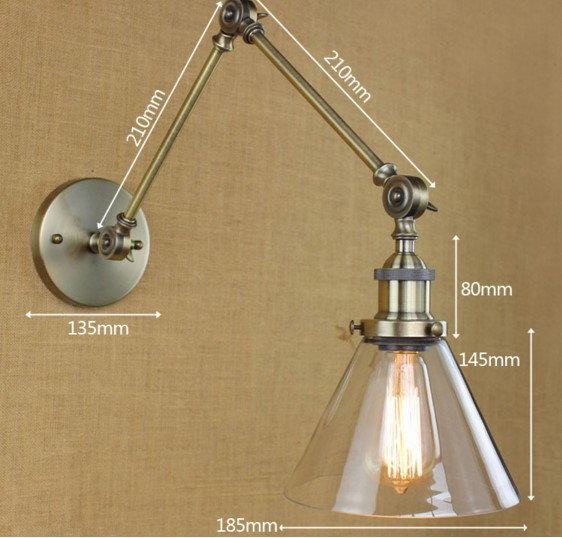 Retro Swing Arm Wall Lamp Gl Shade Vintage Sconces Mount Bedside Reading Light Lights For Home In Lamps From Lighting