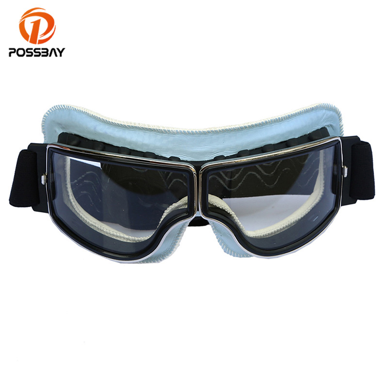 POSSBAY Motorcycle Goggles Glasses Windproof Vintage Winter Snow Sports Skiing Snowboard Snowmobile Goggles Cycling Eyewear