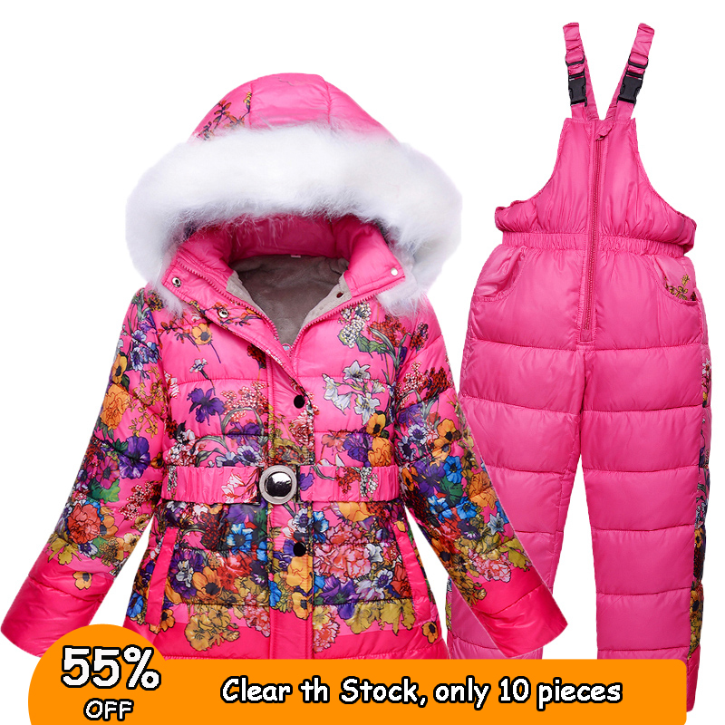 7 8 years Winter Girls Snow Wear Kids Ski Suits Floral Print Fleece jacket+Skiing Pants 2 pieces Girls Winter Clothes цена 2017