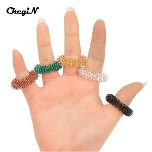 Image 4 - 50 Pcs Finger Acupressure Ring Stimulate Finger Reflexology Acupuncture Point Massage Ring Steel Finger Massager Hand Care Tool0