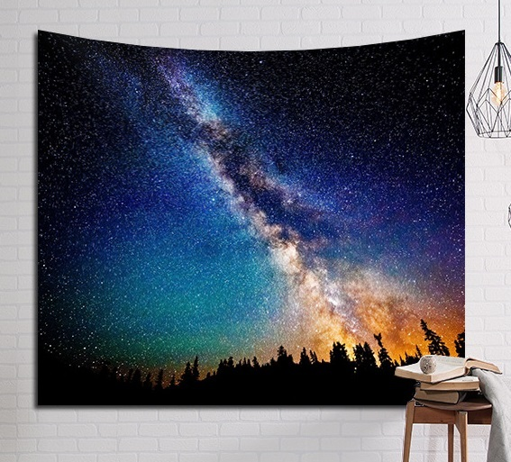 CAMMITEVER Psychedelic Beautiful Stars Starry Sky Fabric Wall Hanging Tapestry Decor Polyester Curtains Plus Long Table Cover