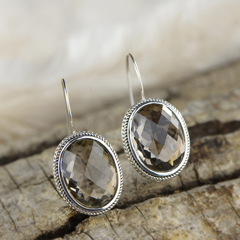 Earrings Silver 925 Natural Gemstone Smoky Quartz Vintage Punk Oval Drop Earrings For Women Korean Fashion