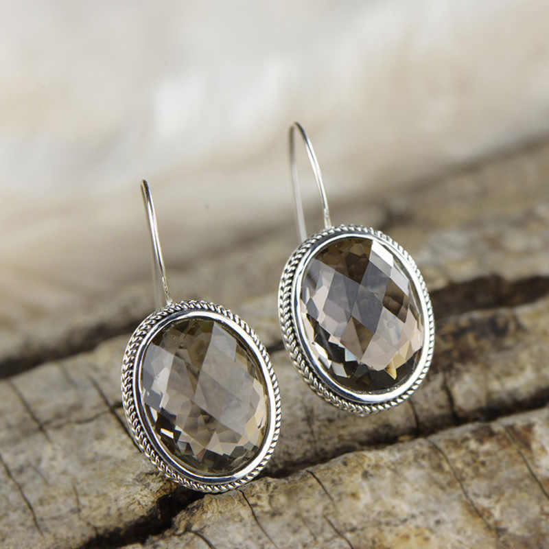 Earrings Silver 925 Natural Gemstone Smoky Quartz Vintage Punk Oval Drop Earrings For Women Korean Fashion Jewelry