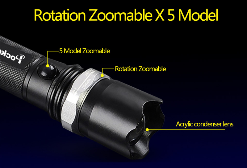 LED Flashlight Torch flash light Torch CREE XM-L T6 3800Lm Zoomable 5 Modes lampe tactique zaklamp Free Shipping zk50
