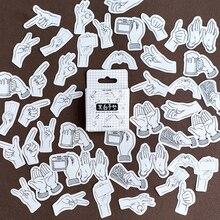 46Pcs/box Kawaii Black White Gestures Sticker Scrapbooking Creative DIY Journal Decorative Adhesive Labels Stickers Stationery цена