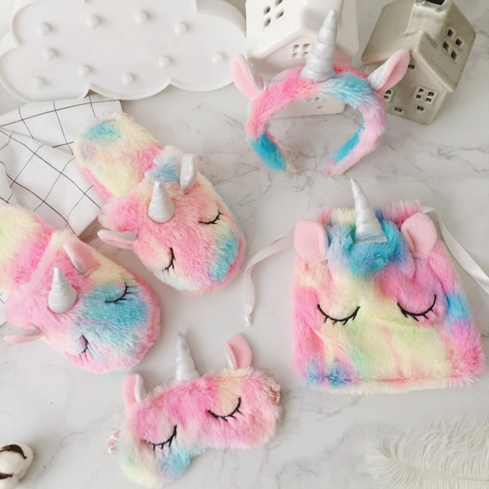 Unicorn 1pcs Eye Mask Plush Toys Stuffed Toy Unicorn Drawstring Bag/Hair Hoop Decor Girls Gifts Toys For Children