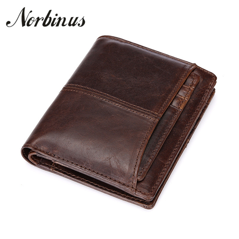 Norbinus Men's Wallet Genuine Leather Male Short Coin Purse Card Holder Cowhide Small Removeable Wallet Bag Mini Photo Holder men wallet male cowhide genuine leather purse money clutch card holder coin short crazy horse photo fashion 2017 male wallets