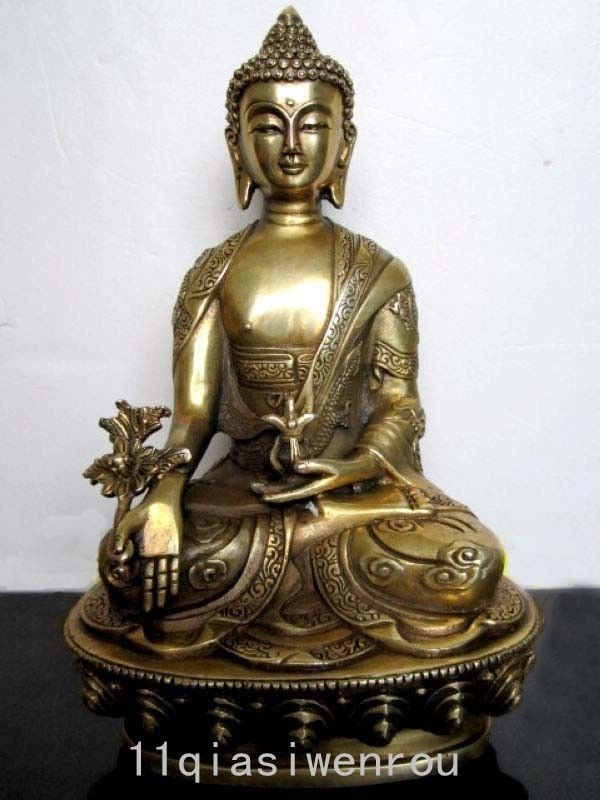Tibet Tibetan Buddhis Bhaisajyaguru bronze On the back of the carved dragon buddha statue