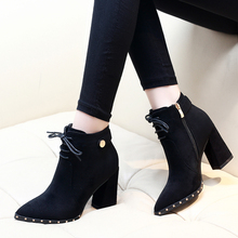 Women Ankle Boots Shoes Ladies Fashion Autumn Flock Size 34-39 Black Boots Square Heel Pointed Toe Zipper Boots Shoes CH-B0110 стоимость