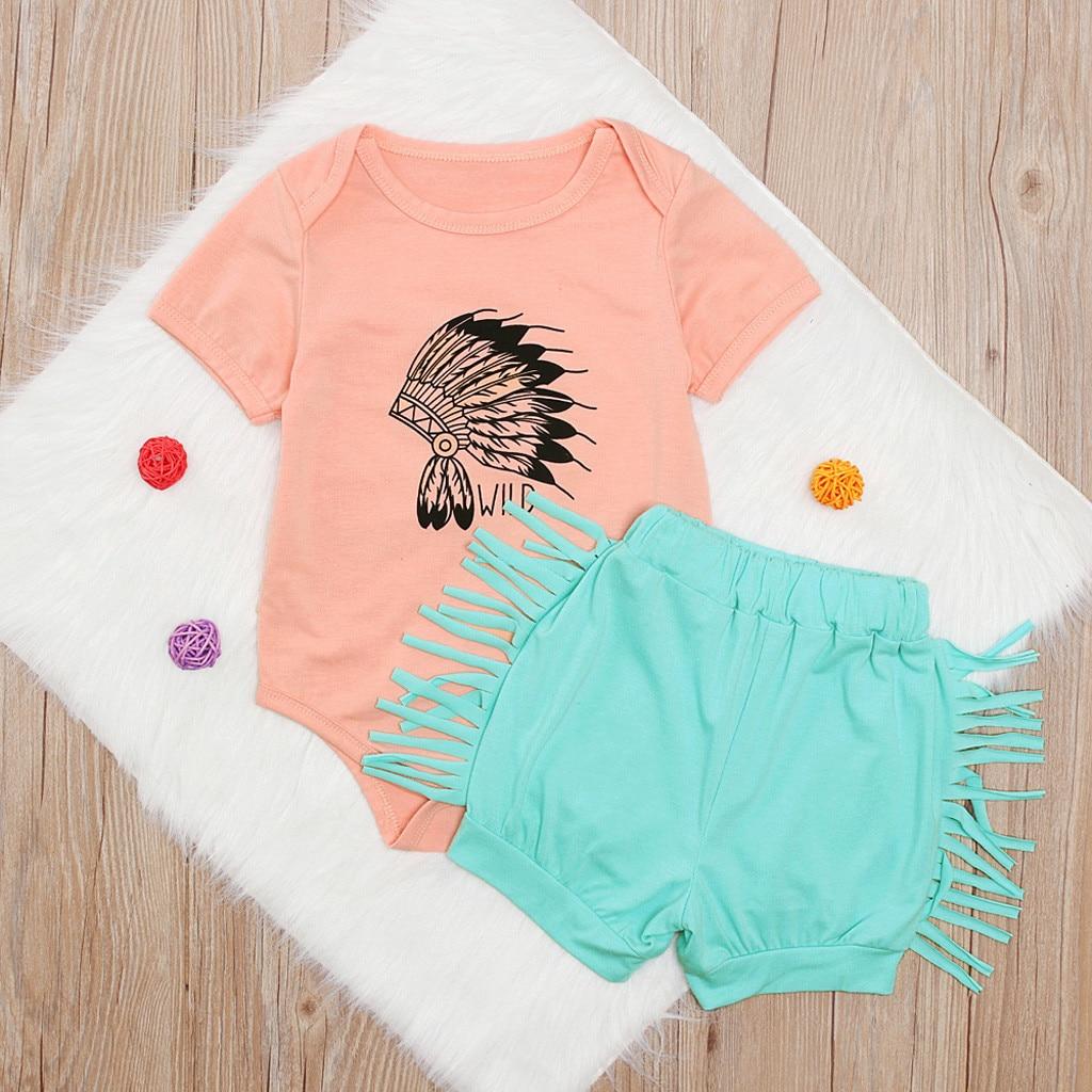 Baby Girl Ruffle Short Sleeve Tassel Balls Floral Vest Tops+White Fringes Short Pants Winter Summer Outfit