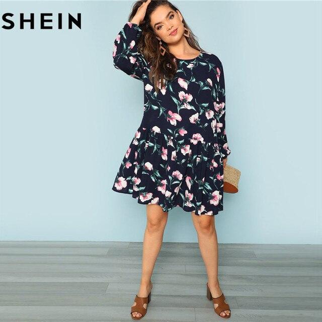 SHEIN Bohemian Flower Print Drop Waist Ruffle Hem Plus Size Women ...