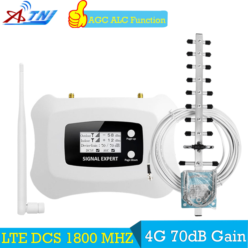 ATNJ 70dB Signal Repeater 4g LTE 1800 mhz GSM Repeater GSM Booster 1800 70dB Gain LCD Repetidor GSM 1800 mhz Signal Verstärker