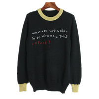 Letters Embroidery Wool Sweater Women 2017 Winter Harajuku Korea Sweater Runway Design Gold Silk Patchwork Pullover Knit Jumper
