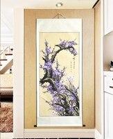גלילה ציור גדול על ידי מספרי/יפני בציר פרחי שזיף סגול/צבוע וול אמנות בית תפאורה/מתנות