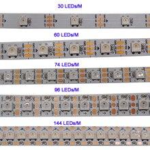 WS2812B 1m/3m/5m 30/60/74/96/100/144 פיקסלים/נוריות/m חכם led פיקסל הרצועה, WS2812 IC;WS2812B/M,IP30/IP65/IP67, שחור/לבן PCB,DC5V