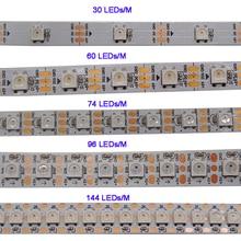 WS2812B 1m/3m/5m 30/60/74/96/100/144 pikseli/diod led/m inteligentna dioda led pasek pikseli, WS2812 IC;WS2812B/M,IP30/IP65/IP67, czarno biała płytka PCB,DC5V