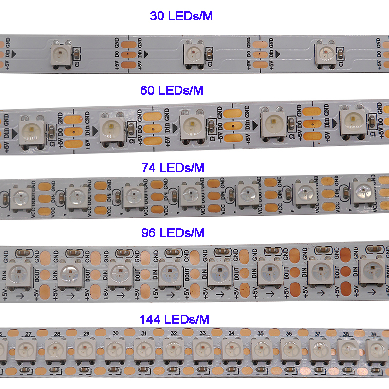 WS2812B 1m/3m/5m 30/60/74/96/100/144 Pixels/leds/m Smart Led Pixel Strip,WS2812 IC;WS2812B/M,IP30/IP65/IP67,Black/White PCB,DC5V