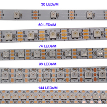 купить WS2812B 1m/3m/5m 30/60/74/96/100/144 pixels/leds/m Smart led pixel strip,WS2812 IC;WS2812B/M,IP30/IP65/IP67,Black/White PCB,DC5V по цене 115.28 рублей