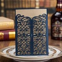 100Pcs Blue Hollow Laser Cut Blank Wedding Invitation Card Greeting Card 3D Card Postcard Custom Printing