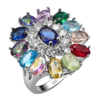 Exquisite Ruby Amethyst Emerald Morganite Multi Color 925 Sterling Silver Ring Beautiful Jewelry Size 6 7