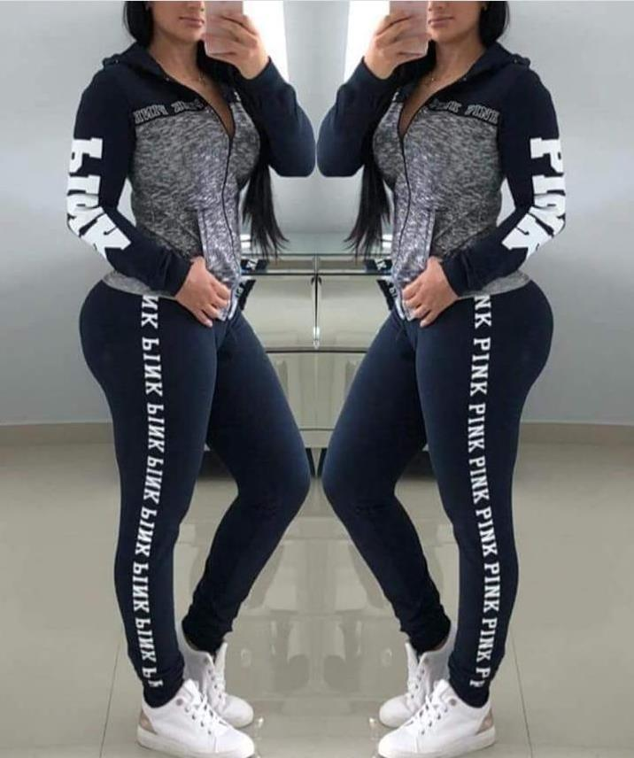 Pink Letter Print Women 2 Piece Set Zipper Patchwork Hoodies Tops And Pants Sweatshirt Casual Two Piece Autumn Streetwear S-3XL