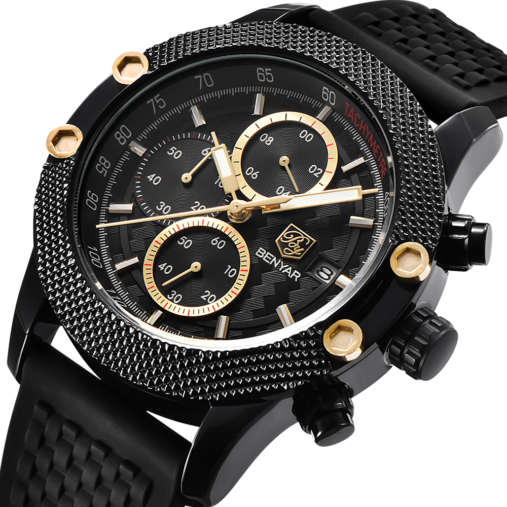 BENYAR Mens Watches Top Luxury Sport Leather Chronograph Fashion Men Waterproof Silicone strap Quartz Clock reloj hombreBENYAR Mens Watches Top Luxury Sport Leather Chronograph Fashion Men Waterproof Silicone strap Quartz Clock reloj hombre