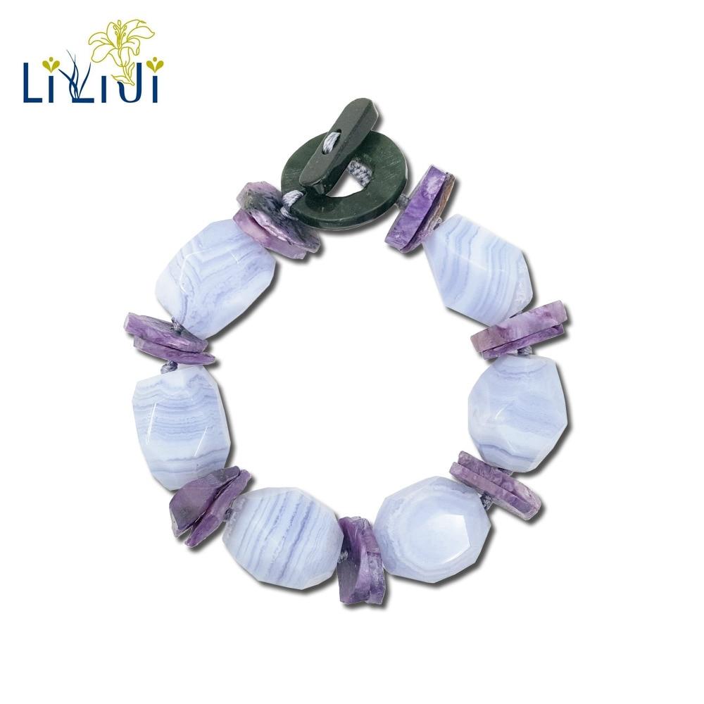 Agate de dentelle bleue pierre naturelle Lii Ji, bijoux de mode Bracelet fermoir à bascule en Jade Charoite