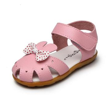 Insole Length/cm13.5-18cm Kids Girls Bow Sandals Summer models Baby Soft bottom Princess Walker Sandals Korean Children's shoes image