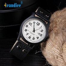 Hcandice relogio masculino спорт урожай классические мужские водонепроницаемый дата кожаный ремешок кварцевые часы армии horloge 17apr27