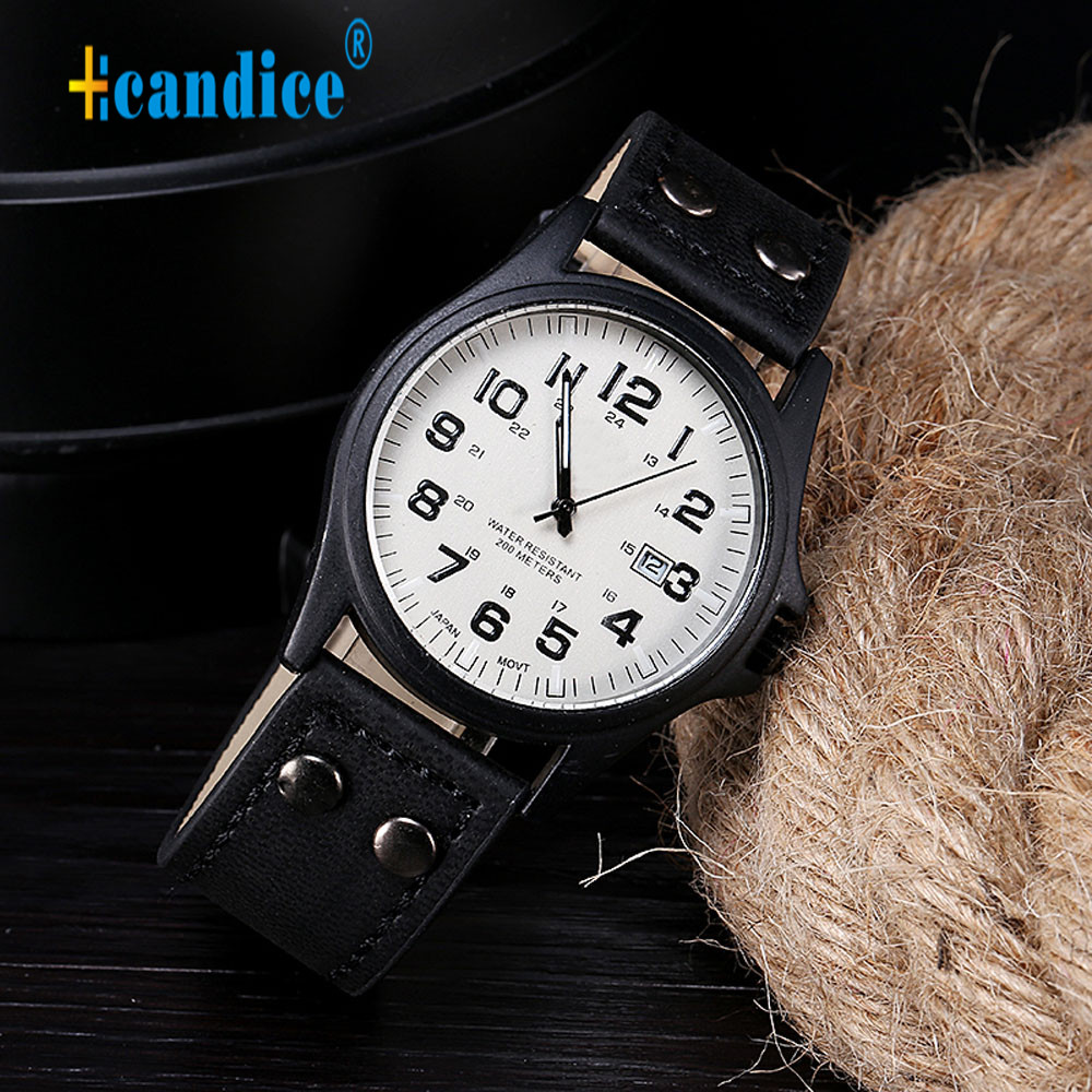 Hcandice Relogio Masculino Sport Vintage Classic Men s Waterproof Date Leather Strap Quartz Army font b