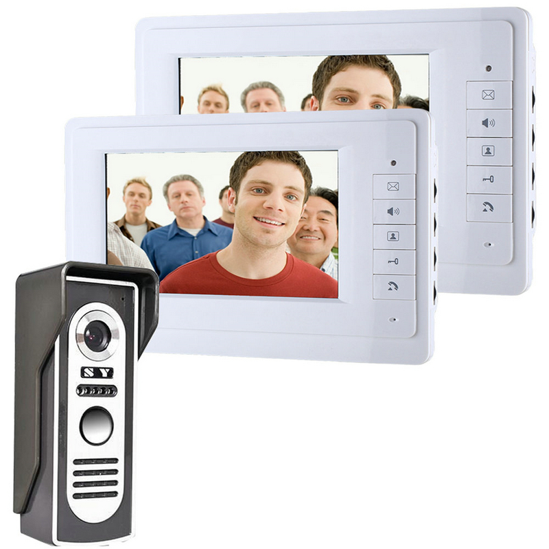 New 7 Inch Video Door Phone Doorbell Intercom Kit 1-camera 2-monitor Night Vision SY819M12 Free Shipping